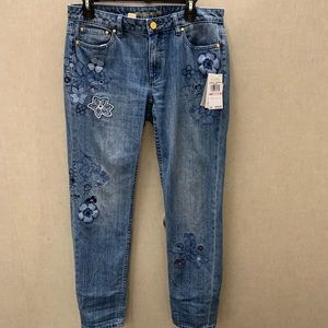 NWT Michael Kors Embroidered Flower Jeans
